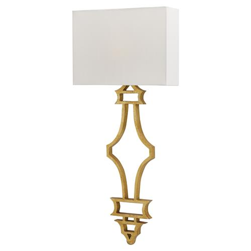Ashira Bazaar Applique Antique Gold Leaf Wall Sconce | Kathy Kuo Home