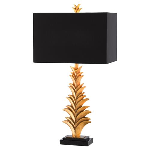 Foliage Regency Black Gold Leaf Table Lamp | Kathy Kuo Home