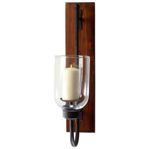 Sydney Weathered Rustic Wood Plank Iron Hurricane Candle Sconce | Kathy Kuo Home