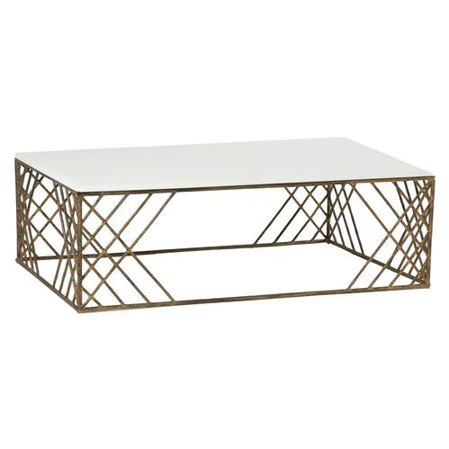 Coastal Sea Grass Antique Brass Rectangular Coffee Table | Kathy Kuo Home