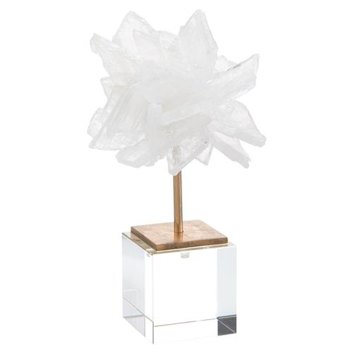 John-Richard White Selenite Brass Acrylic Crystal Sculpture - S | Kathy Kuo Home