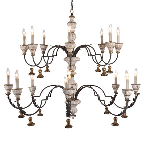 Arjan French Rustic Cream Gold 2 Tier Chandelier | Kathy Kuo Home