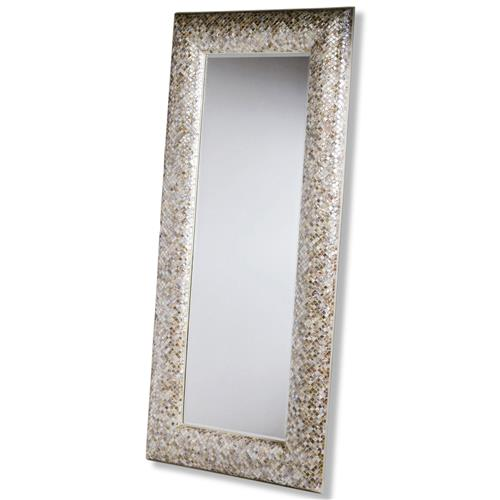 Interlude Phanta Coastal Mother of Pearl Tan, Rose Large Leaning Modern Floor Mirror | Kathy Kuo Home