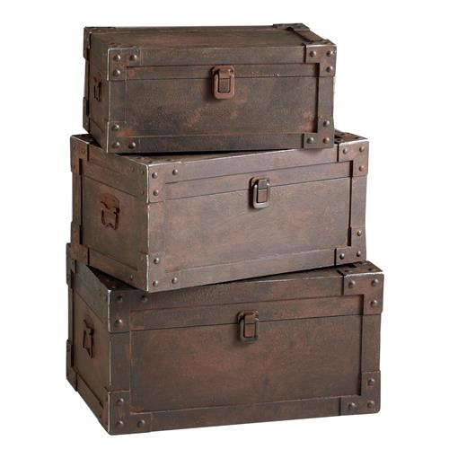 Set of 3 Yuma Industrial Loft Iron Stacking Storage Trunk | Kathy Kuo Home