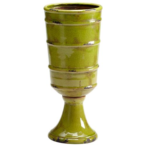 Stockton Rustic Moss Green Outdoor Ceramic Vase | Kathy Kuo Home