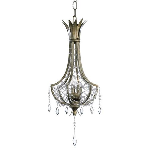 Luciana Antique Gold Brass Art Deco Crystal 3 Light Pendant Chandelier | Kathy Kuo Home