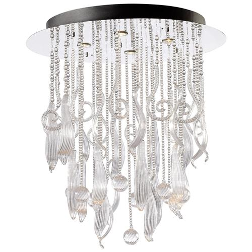 Round Mirabella Clear Glass Murano Style Cascade 4 Light Ceiling Mount | Kathy Kuo Home