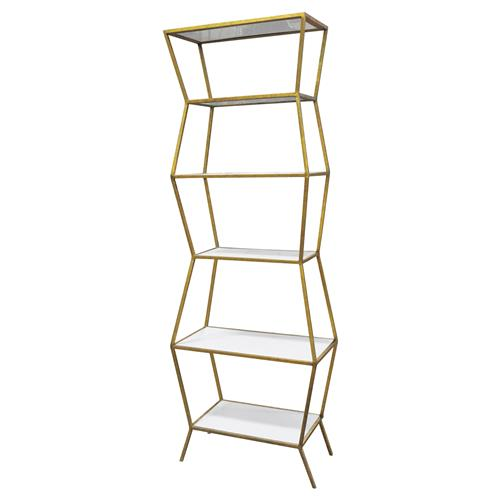 Oly Studio Astro White Enamel Antique Gold Etagere | Kathy Kuo Home