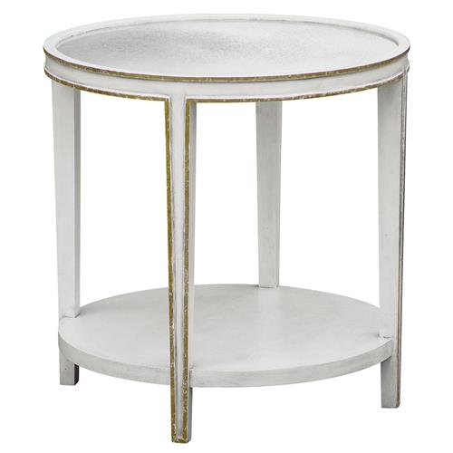 Oly studio christine white mirrored round tall side table for Tall white end table