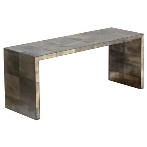 Oly Studio Giles Grey Waterfall Console Table | Kathy Kuo Home