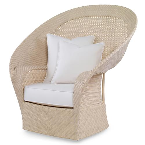 Bismark Beach Ivory Woven Sand Outdoor Swivel Chair | Kathy Kuo Home