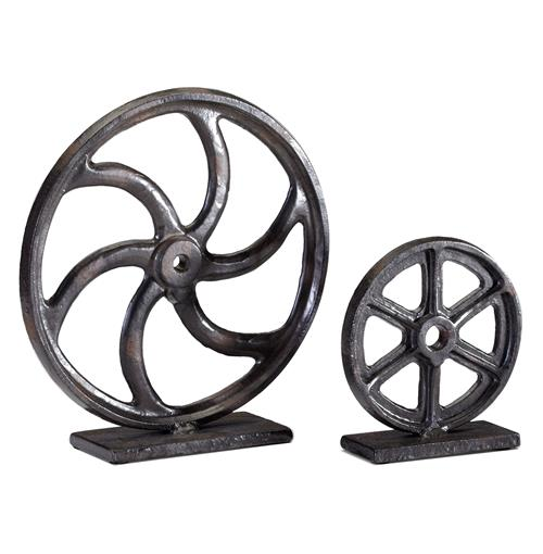 Industrial Loft Iron Mechanics Wheel Sculpture - 10 Inch | Kathy Kuo Home