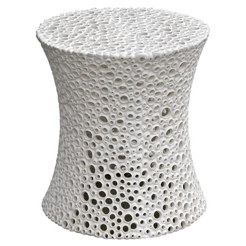 Oly Studio Meri Coastal Pierced White Resin End Table | Kathy Kuo Home