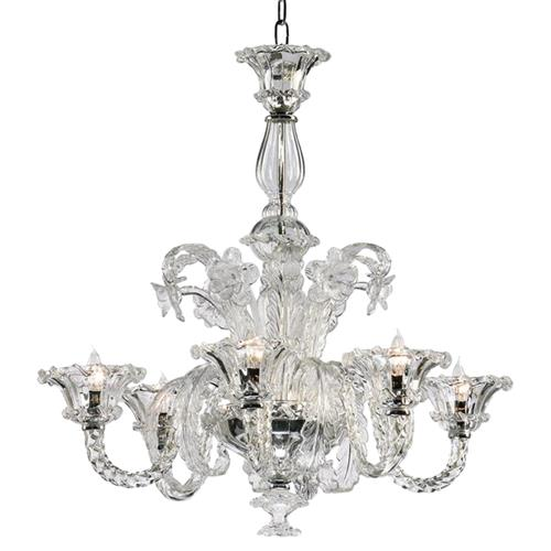 La Scala 30 Inch Clear Murano Glass Style 6 Light Chandelier | Kathy Kuo Home