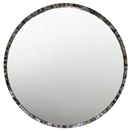 Oly Studio  Pearl Round Grey Large Mirror | Kathy Kuo Home