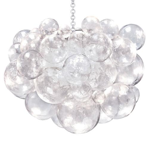 Oly Studio Muriel Clear Resin Bubbled Silver Chain Chandelier | Kathy Kuo Home