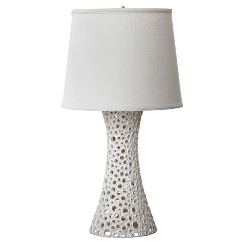Oly Studio Meri Pierced White Resin Table Lamp | Kathy Kuo Home