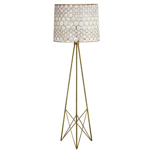 Oly Studio Serena Antique Gold Capiz Shell Floor Lamp | Kathy Kuo Home