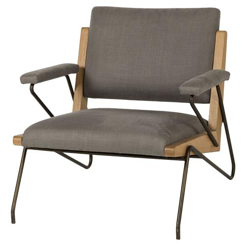 Thomas Bina Marrianne Mid Century Grey Linen Steel Oak Oak Occasional Arm Chair | Kathy Kuo Home
