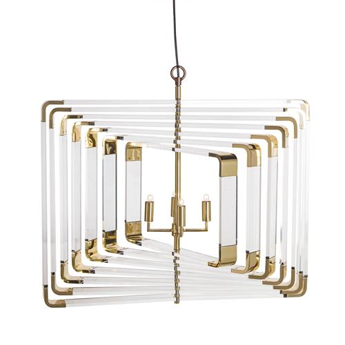 Nellcote Spiral Hollywood Regency Spiral Brass Acrylic Chandelier | Kathy Kuo Home