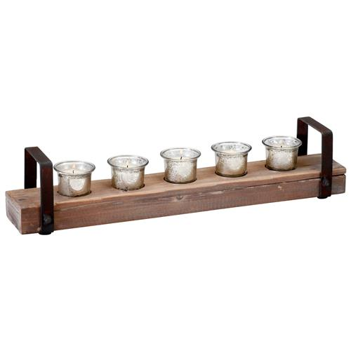Clifton Rustic Reclaimed Chunky Wood Iron Votive Candle Holder | Kathy Kuo Home