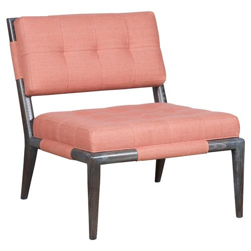 Thom Filicia Chatfield Coral Linen Mink Stained Armless Chair | Kathy Kuo Home