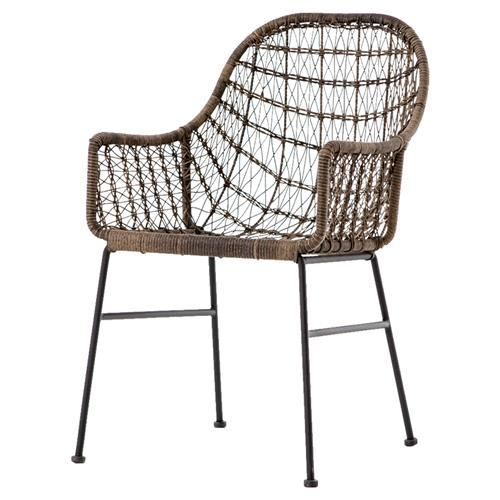 Elani Bazaar Woven Wicker Outdoor Armchair - Pair | Kathy Kuo Home