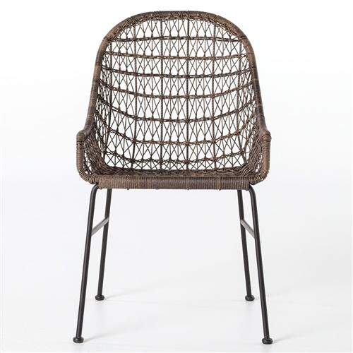 Elena Coastal Beach Brown Woven Wicker Black Iron Low Arm Outdoor Dining Chair | Kathy Kuo Home
