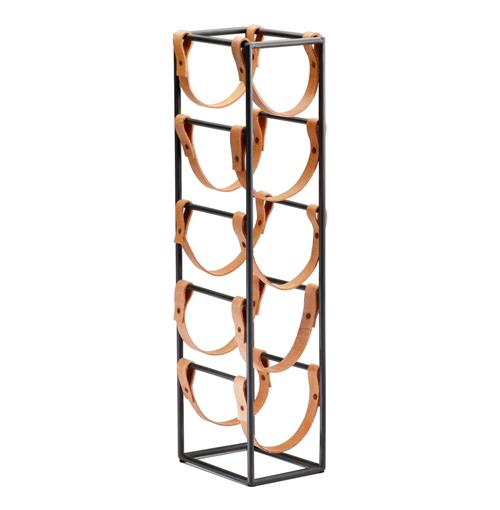 Tall Brighton Rustic Farmhouse Iron Leather Wine Rack Holder | Kathy Kuo Home