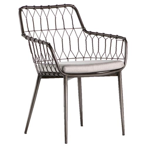 Albin Hairpin Iron Rattan Outdoor Dining Chair | Kathy Kuo Home