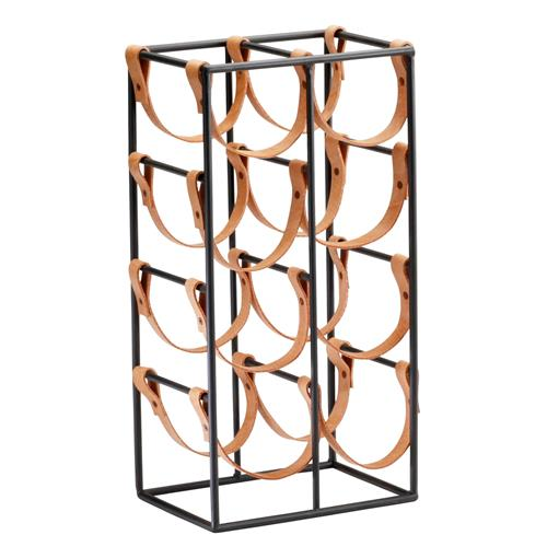 Large Brighton Rustic Farmhouse Iron Leather Wine Rack Holder | Kathy Kuo Home