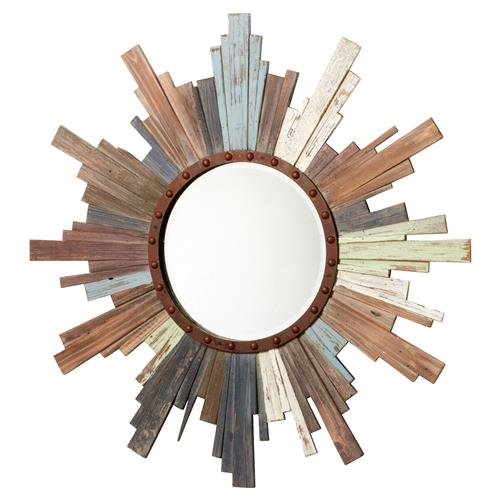 Morrison Rustic Lodge Multi Colored Wood Starburst Mirror - 39.5D | Kathy Kuo Home
