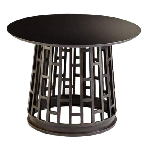 Paulo Raw Steel Modern Entry Pedestal Table | Kathy Kuo Home