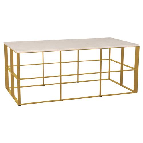 Macy Industrial Loft Gold Geometric White Granite Coffee Table | Kathy Kuo Home