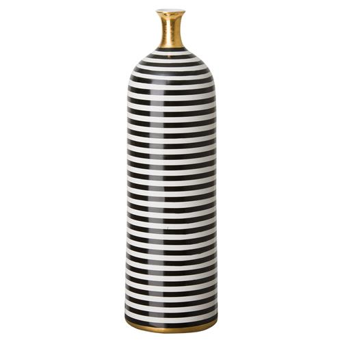 Modern Striped Black Gold Glazed Bottle | Kathy Kuo Home