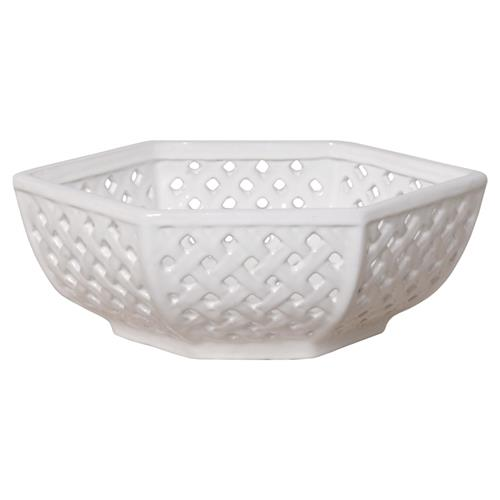 Coastal Trellis White Glazed Ceramic Decorative Bowl | Kathy Kuo Home