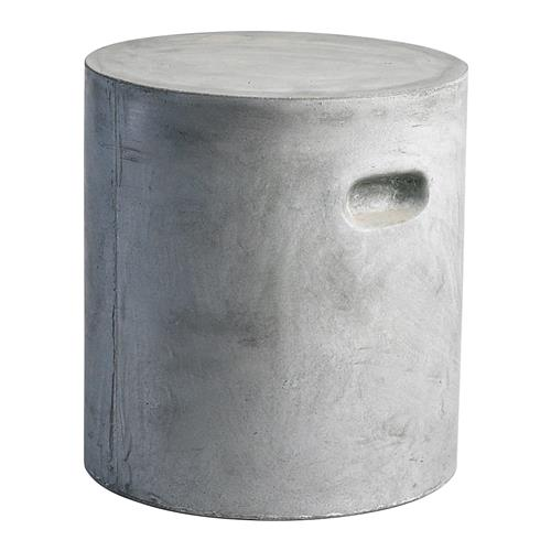 Modern Industrial Loft Round Gray Clay Outdoor Unglazed Garden Stool | Kathy Kuo Home