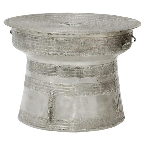 Palecek Silver Rain Bazaar Silver Drum Outdoor Coffee Table