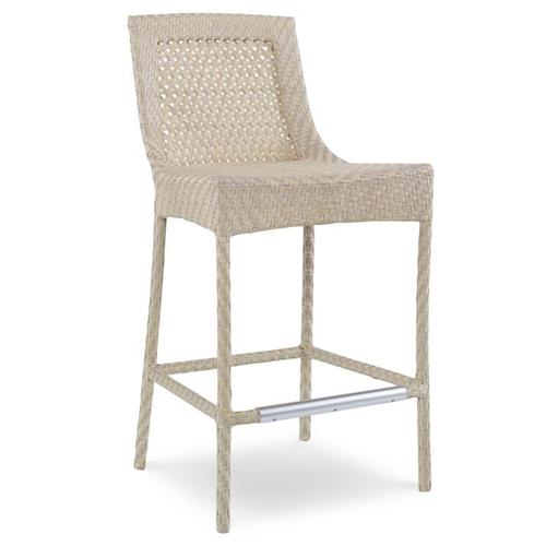 Bismark Coastal Woven Sand Outdoor Barstool | Kathy Kuo Home