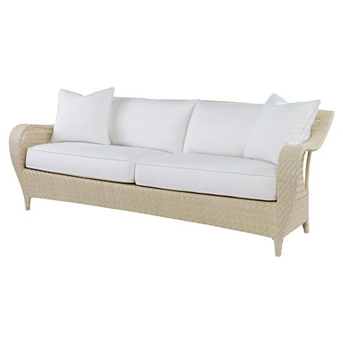 Bismark Ivory Woven Sand Outdoor Sofa | Kathy Kuo Home