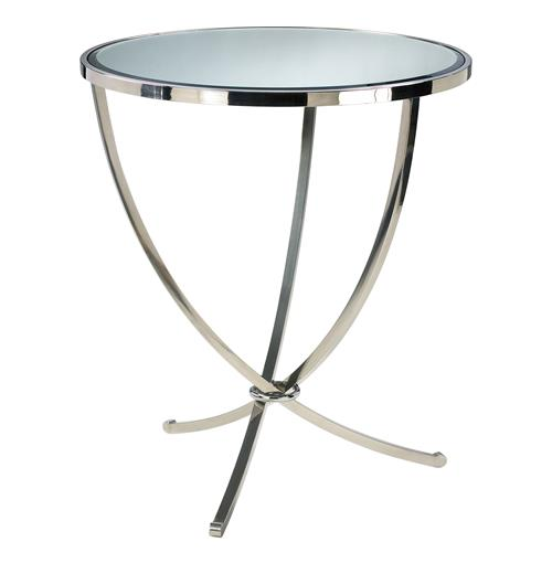Nuovo Silver Contemporary Mirrored Pedestal Entry Table | Kathy Kuo Home