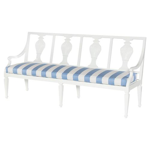 Emerie Swedish Modern Blue Stripe White Outdoor Bench | Kathy Kuo Home