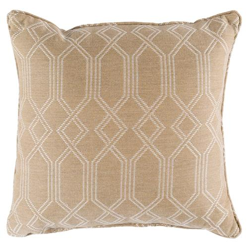 Coastal Beach Beige Trellis Outdoor Pillow - 16x16 | Kathy Kuo Home