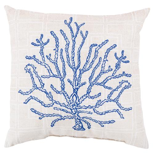 Coastal Blue Coral Grid Outdoor Pillow - 18x18 | Kathy Kuo Home