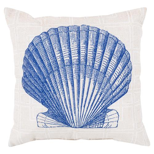 Sea Shell Coastal Grid Outdoor Pillow - 18x18 | Kathy Kuo Home