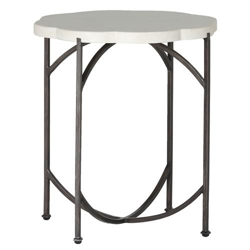 Summer Classics Gillian Floral Ivory Iron Outdoor End Table | Kathy Kuo Home