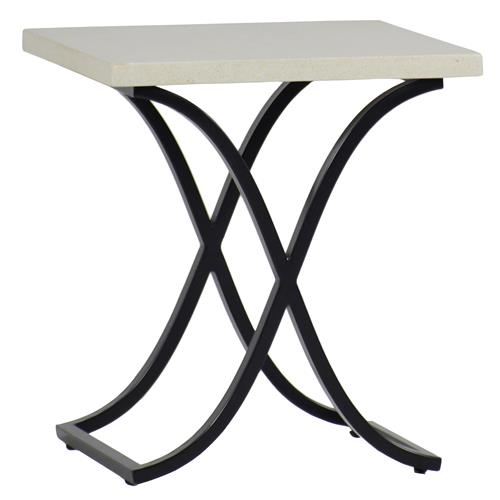 Summer Classics Marco Ivory Travertine Black Outdoor End Table | Kathy Kuo Home
