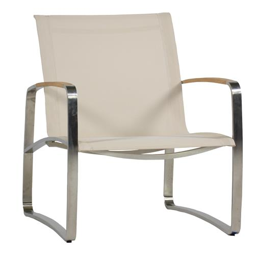 Delray Beige Sling Teak Steel Outdoor Lounge Chair | Kathy Kuo Home