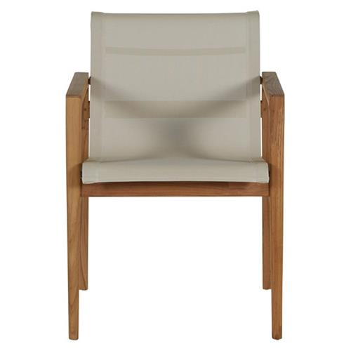 Summer Classics Coast Teak Ivory Canvas Outdoor Armchair | Kathy Kuo Home