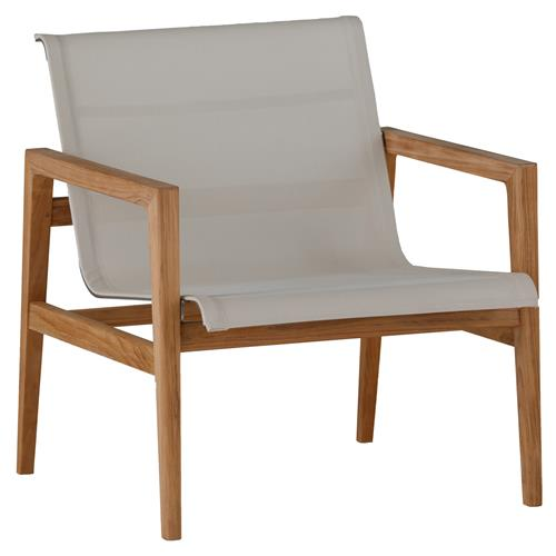 Summer Classics Coast Teak Sling Canvas Outdoor Lounge Chair | Kathy Kuo Home